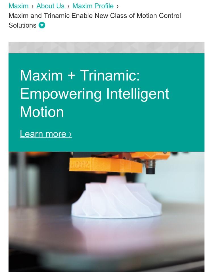 Maxim并購Trinamic,攜手工業4.0